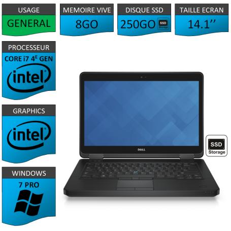 DELL Latitude e5440 i7 8Go 250SSD Windows 7 Pro