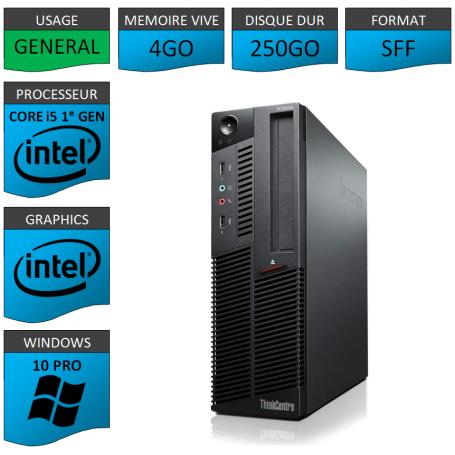 Lenovo M90p Core i5 4Go 250Go Windows 10 Pro