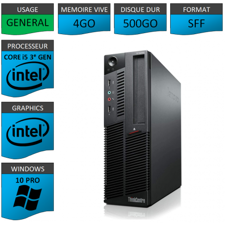 Lenovo M92p Core i5 4Go 500Go Windows 10 Pro