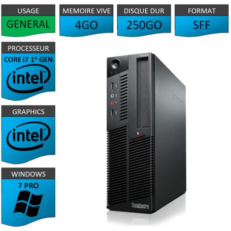 Lenovo M90p Core i7 4Go 250Go Windows 7 Pro