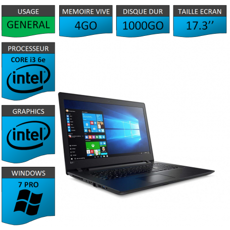 "Lenovo Core i3 4Go 1000Go 17.3"" Windows 7 Pro 64"