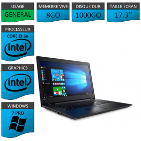 "Lenovo Core i3 8Go 1000Go 17.3"" Windows 7 Pro 64"
