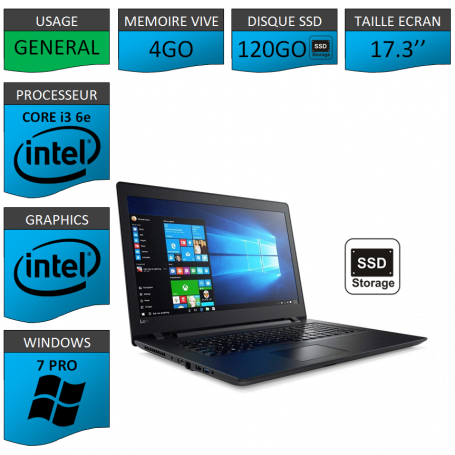 "Lenovo Core i3 4Go 120SSD 17.3"" Windows 7 Pro 64"