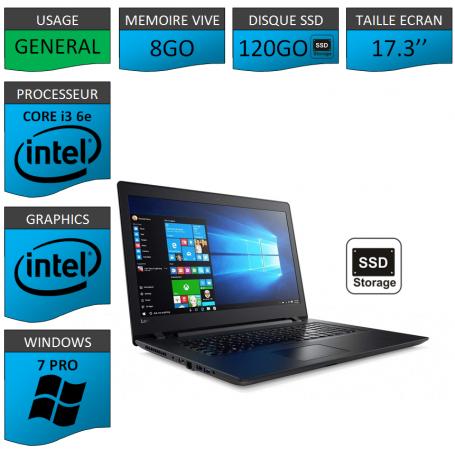"Lenovo Core i3 8Go 120SSD 17.3"" Windows 7 Pro 64"
