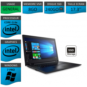 "Lenovo Core i3 8Go 240SSD 17.3"" Windows 7 Pro 64"