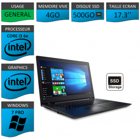 "Lenovo Core i3 4Go 500SSD 17.3"" Windows 7 Pro 64"