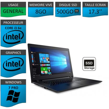 "Lenovo Core i3 8Go 500SSD 17.3"" Windows 7 Pro 64"