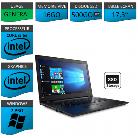"Lenovo Core i3 16Go 500SSD 17.3"" Windows 7 Pro 64"