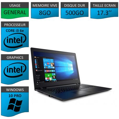 "Lenovo Core i3 8Go 500Go 17.3"" Windows 10 Pro 64"