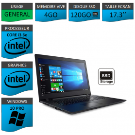 "Lenovo Core i3 4Go 120SSD 17.3"" Windows 10 Pro 64"