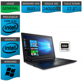 "Lenovo Core i3 8Go 240SSD 17.3"" Windows 10 Pro 64"