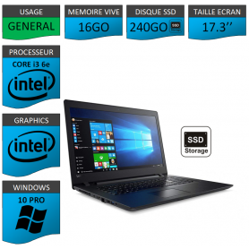 "Lenovo Core i3 16Go 240SSD 17.3"" Windows 10 Pro 64"
