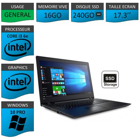 "Lenovo Core i3 16Go 240SSD 17.3"" Windows 10 Pro 64"
