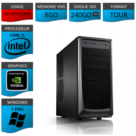 Station Graphique Core i5 8Go 240SSD 1000Go Nvidia Quadro K620