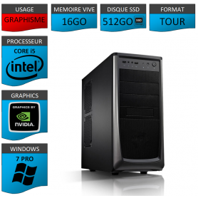 Station Graphique Core i5 16Go 512SSD 1000Go Nvidia Quadro K620