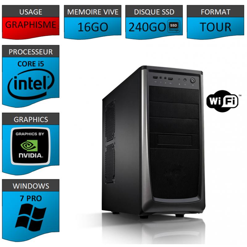 Station Graphique neuve Core i5 16Go Wifi Windows 7 Pro