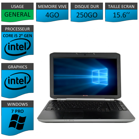 DELL Latitude e5520 i5 4Go 250Go Windows 7 Pro Port HDMI