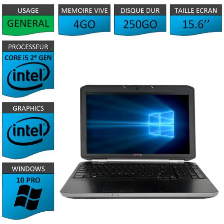 DELL Latitude e5520 i5 4Go 250Go Windows 10 Pro Port HDMI