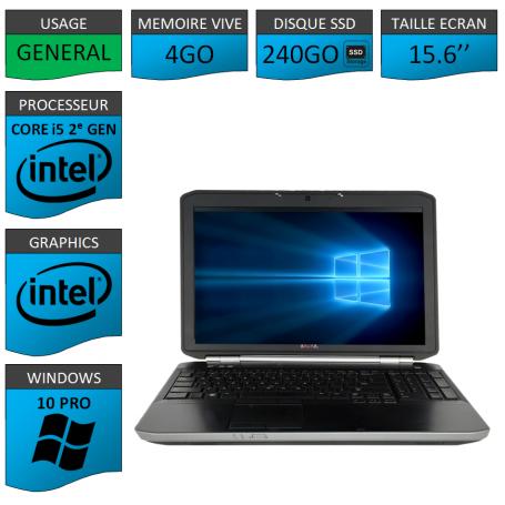 DELL Latitude 15.6'' i5 4Go 240SSD Windows 10 Pro Port HDMI