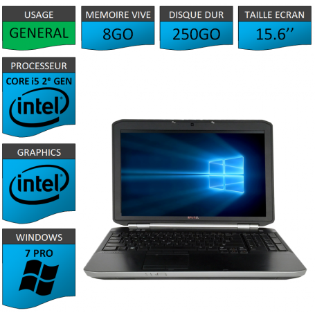DELL Latitude e5520 i5 8Go 250Go Windows 7 Pro Port HDMI