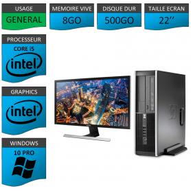 PC HP Core i5 8Go 500Go Windows 10 Pro Ecran 22