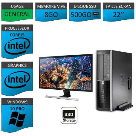 PC HP Core i5 8Go 512SSD Windows 10 Pro Ecran 22