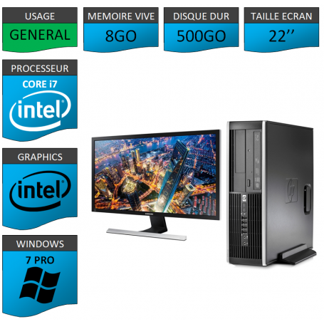 PC HP Core i7 8Go 500Go Windows 7 Pro Ecran 22