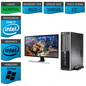 PC HP Core i7 8Go 500Go Windows 10 Pro Ecran 22