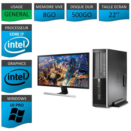 PC HP Core i7 8Go 500Go Windows 10 Pro Ecran 22