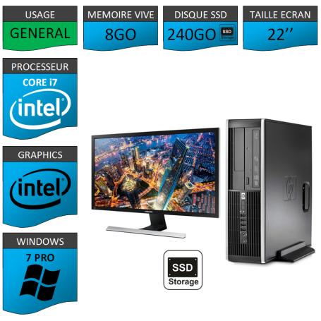 PC HP Core i7 8Go 240SSD Windows 7 Pro Ecran 22