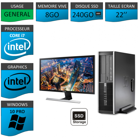 PC HP Core i7 8Go 240SSD Windows 10 Pro Ecran 22