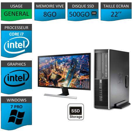 PC HP Core i7 8Go 500SSD Windows 7 Pro Ecran 22