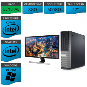 PC Dell Core i5 8Go 500Go Windows 10 Pro 64 Ecran 22''