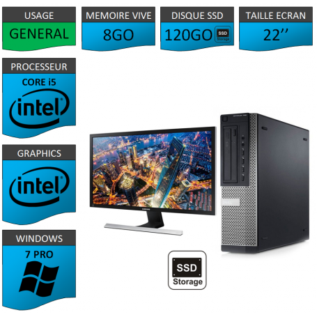 PC Dell Core i5 8Go 120SSD Windows 7 Pro 64 Ecran 22''