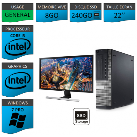 PC Dell Core i5 8Go 240SSD Windows 7 Pro 64 Ecran 22''