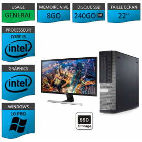 PC Dell Core i5 8Go 240SSD Windows 10 Pro 64 Ecran 22''