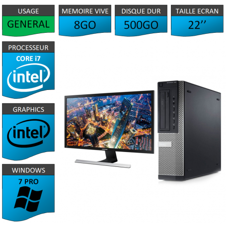 PC Dell Core i7 8Go 500Go Windows 7 Pro 64 Ecran 22''