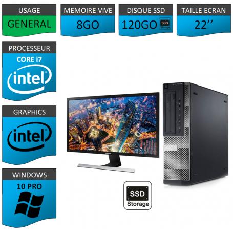 PC Dell Core i7 8Go 120SSD Windows 10 Pro 64 Ecran 22''
