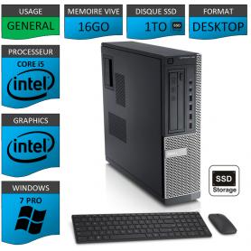 Dell Optiplex Core i5 16go 1000SSD Windows 7 Pro CSF
