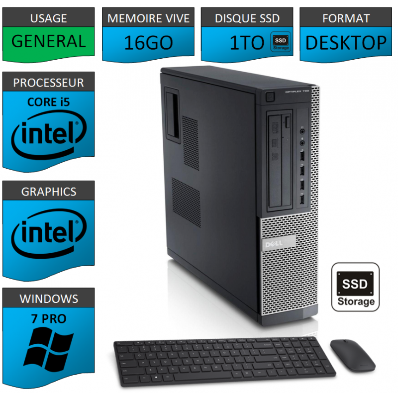 Dell Optiplex Core i5 16go 1000SSD Windows 7 Pro CSF