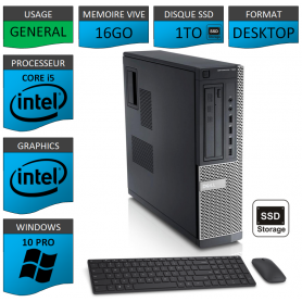 Dell Optiplex Core i5 16go 1000SSD Windows 10 Pro CSF