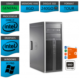 PC HP Elite Core i7 8Go SSD240 Windows 10 pro OFFICE 2013