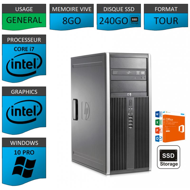 PC HP Elite Core i7 8Go SSD240 Windows 10 pro OFFICE 2013