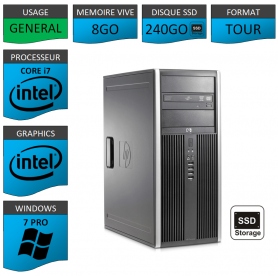 PC HP Core i7 8Go SSD240 Windows 7 pro