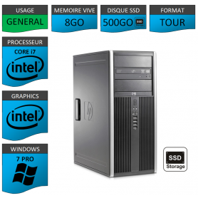 PC HP Core i7 8Go SSD500Go Windows 7 pro