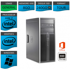 PC HP Elite Core i7 8Go SSD240 Windows 7 pro OFFICE 2013