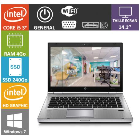 Hp elitebook i5 4Go 240SSD Windows 7 Pro