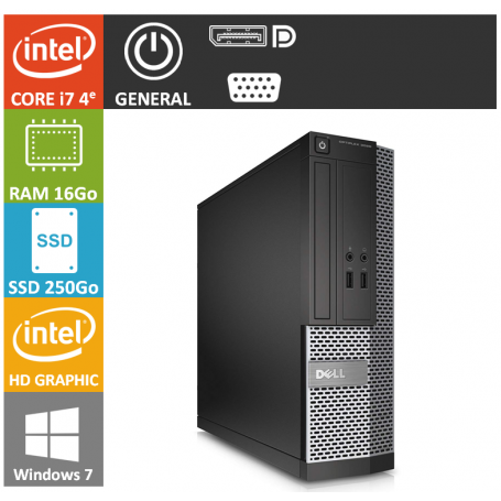 Dell Optiplex 9020 i7 16Go SSD250 Windows 7 Pro