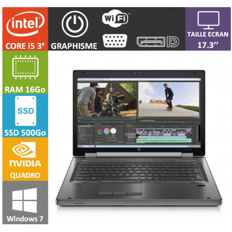 Hp elitebook 8770W i5 16Go 500SSD W7P