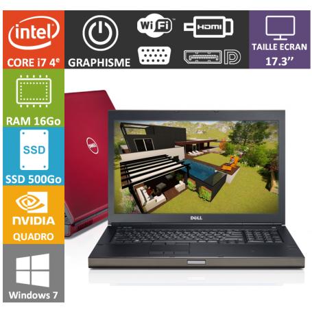 Dell Precision M6800 16Go SSD500 Nvidia Quadro K3100M